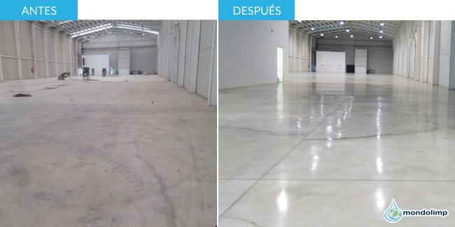 Pulido suelos industriales antes y después