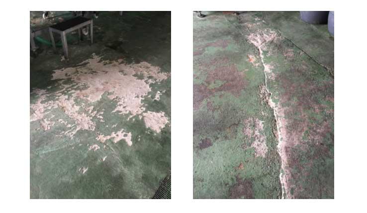 ataque de agentes químicos en pavimento industrial